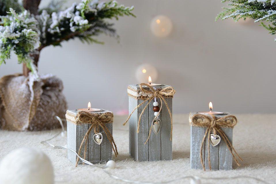 New Vintage świecznik świąteczne Dekoracje Drewniane