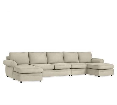 Pearce Slipcovered 4-Piece Double Chaise Sectional, Down Blend Wrapped Cushions, Washed Grainsack Flax