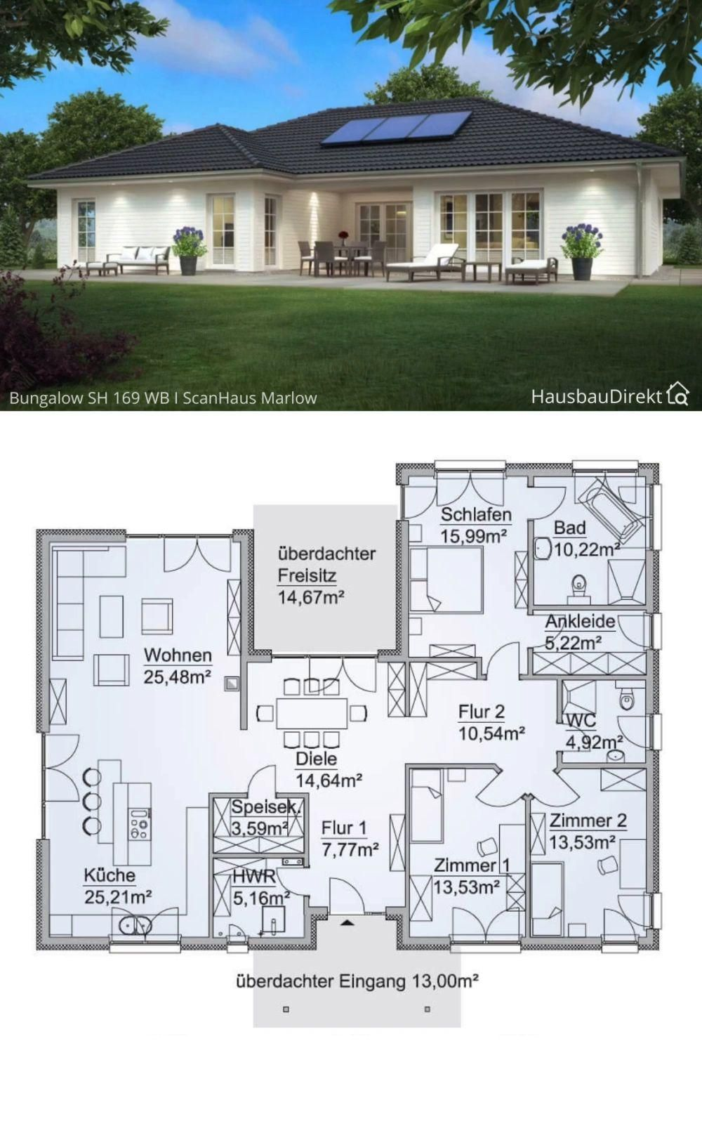 Bungalow House Plans with Open Floor & 3 Bedroom - Contemporary European Country House Design Ideas