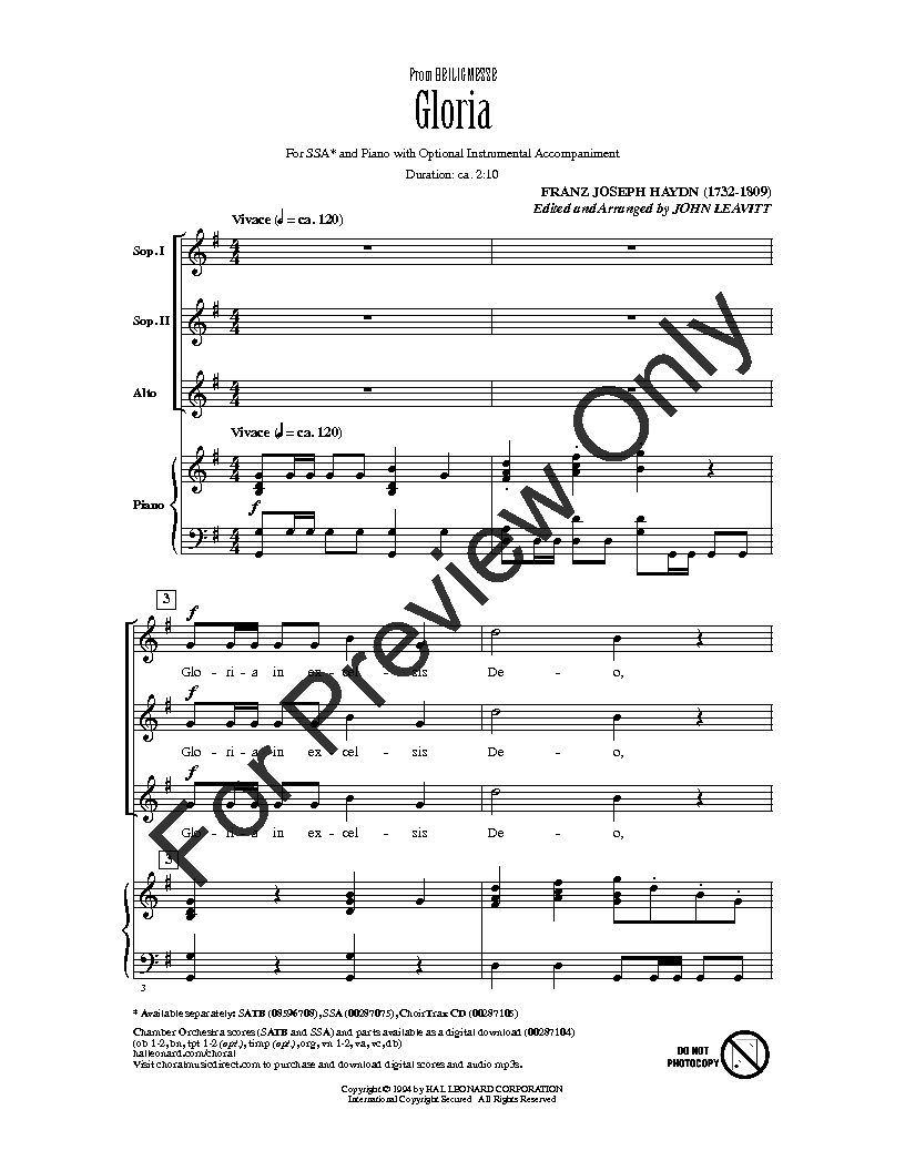 Gloria From Heiligmesse Choral Music Haydn Latin Text