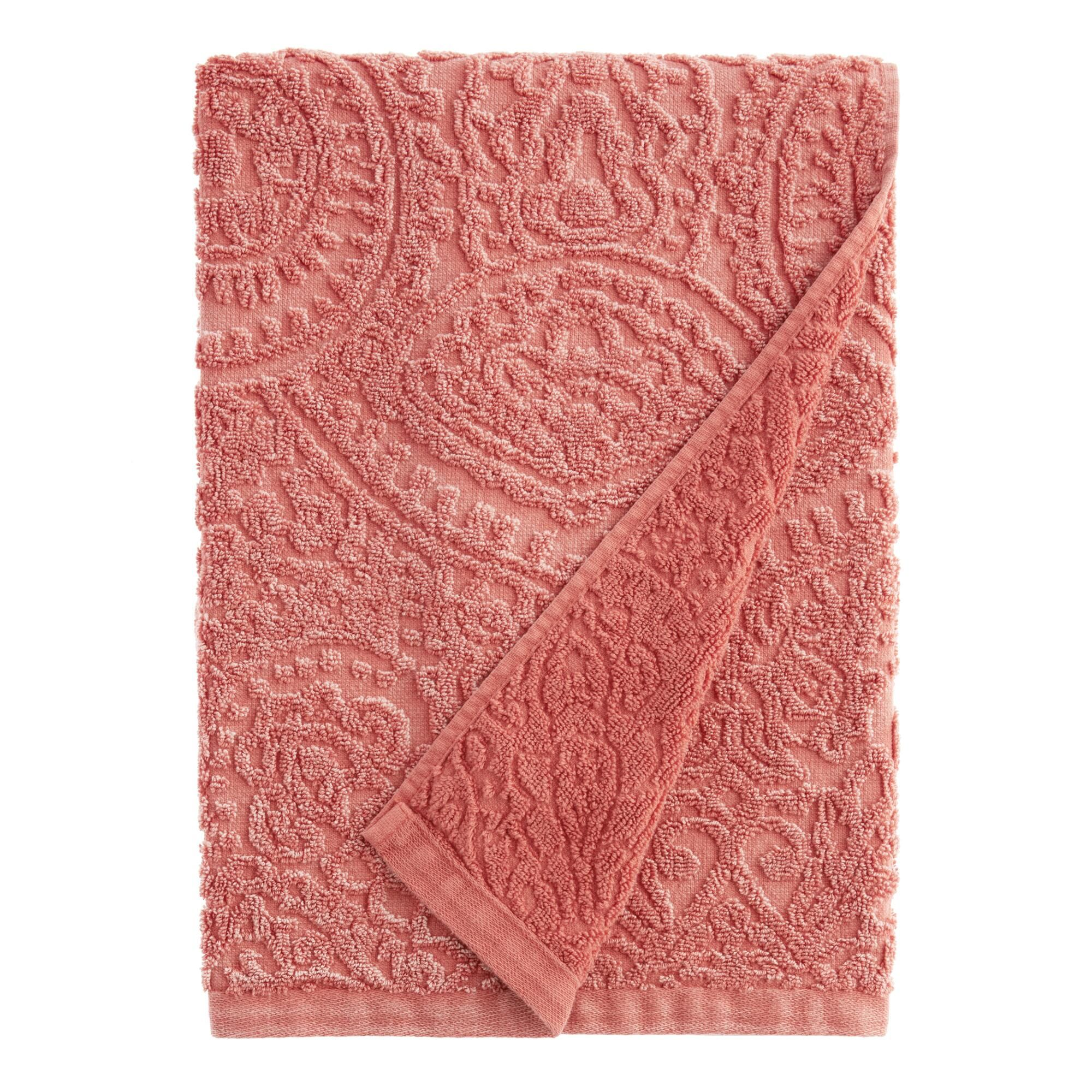 Coral Sunfaded Sculpted Paisley Raquel Bath Towel By World Market