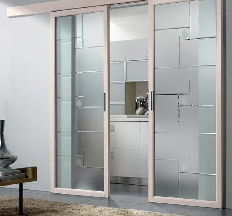 Porte scorrevoli in vetro - Porta con ante decorate e struttura ...