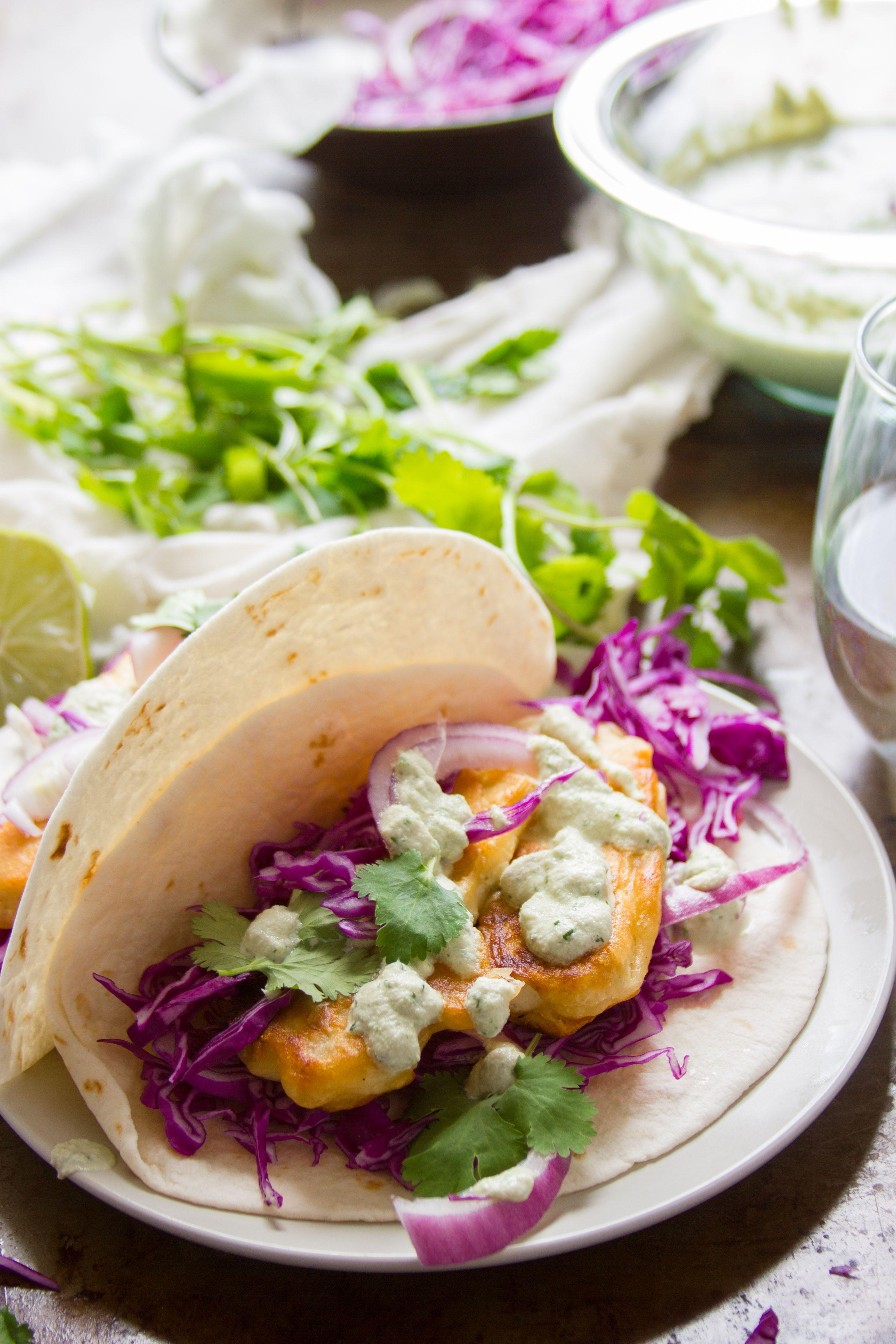 Crispy Beer Battered Tofu Tacos With Vegan Baja Sauce Recipe With Images Tofu Tacos Vegetarian Tacos Recipes Tofu
