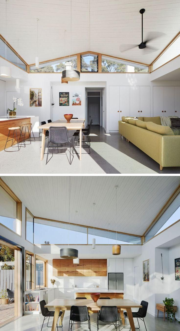 #HouseExtension  #Windows  #Architecture #this #modern Inside this modern house extension, there's a white timber ceiling that compliments the walls and built-in storage cabinets, and is used to create a sense of lightness to the space.