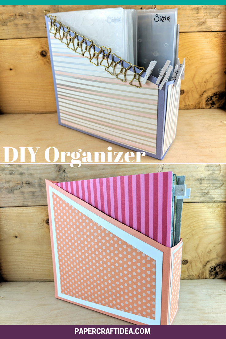 Diy Organizer Box Embossing Folder Holder Laura S Paper Craft Ideas Paper Storage Diy Organization Cardboard Crafts Diy