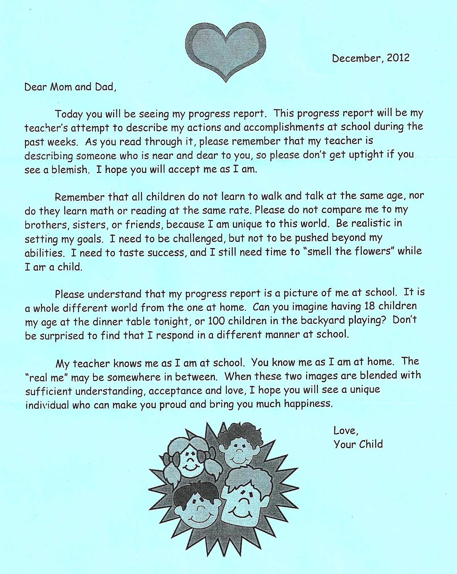 A Letter From Your Child This Came With A Report Card