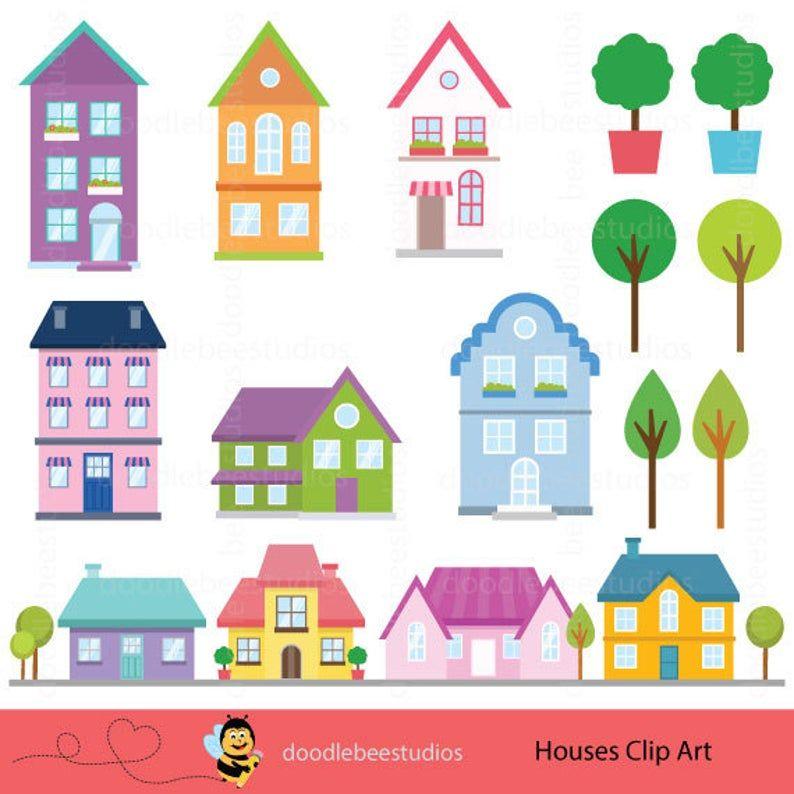 Houses Clipart Houses Clip Art Buildings Clipart Cottage Etsy In 2020 House Clipart Clip Art House Drawing