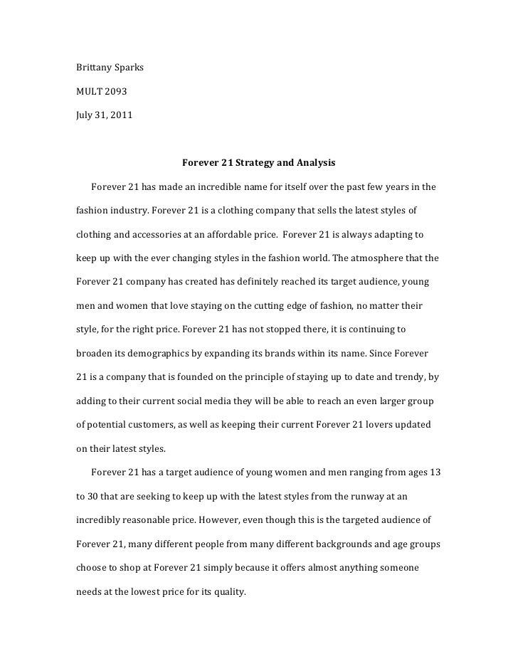 Forever 21 Strategy And Analysi Essay Example Sample Rabbit Proof Fence