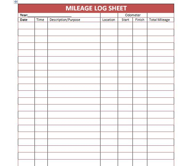 Mileage Log Template   Organize Me    Logs