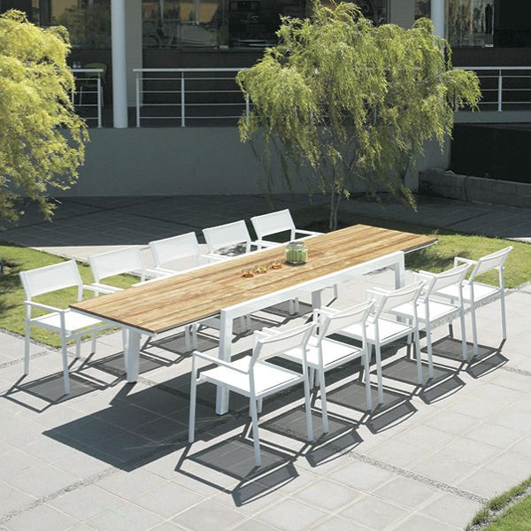 This Mamagreen Baia Extension Teak Top Dining Table Set For Outdoor Dining  On The Patio Or Garden.