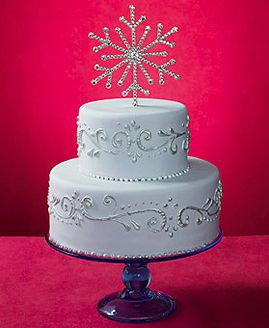 Winter Wedding Cake With Snowflake Topper Like The