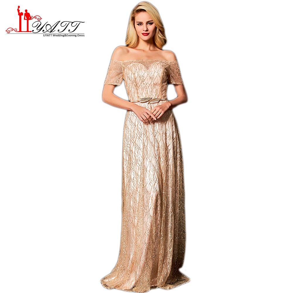Liyatt new sparking beading formal evening dresses elegant off