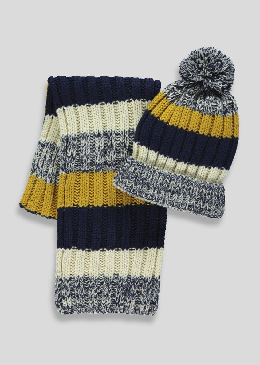 ae72962c2f1 Kids Stripe Bobble Hat   Scarf (3-13yrs)