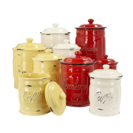 Italian Ceramic Flour Canisters. I want these in red ...