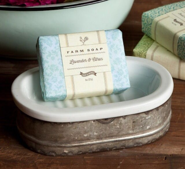 "THIS SOAP DISH IS SURE TO ADD VINTAGE STYLE TO ANY BATHROOM OR KITCHEN.    MEASURES 4.5"" X 6.5"""