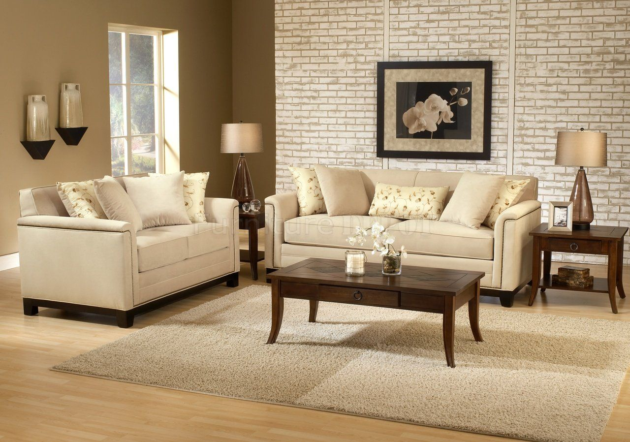 Beige Couch In Living Room | Beige Fabric Contemporary Living Room Sofa U0026  Loveseat Set
