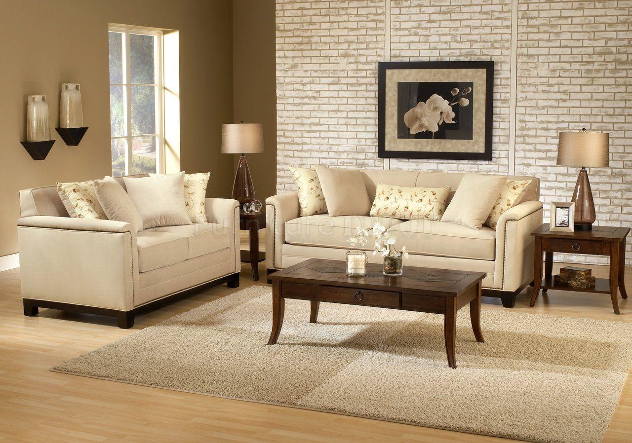 Beige Fabric Contemporary Living Room Sofa Loveseat Set B