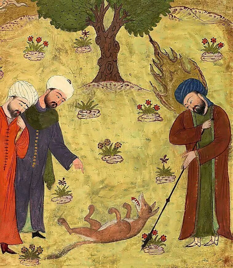 'Isa (Jesus) and The Dead Dog - Illustration to Nizami Ganjavi's 'Khamsa' made in Shiraz (year 868 of the Iranian calendar)