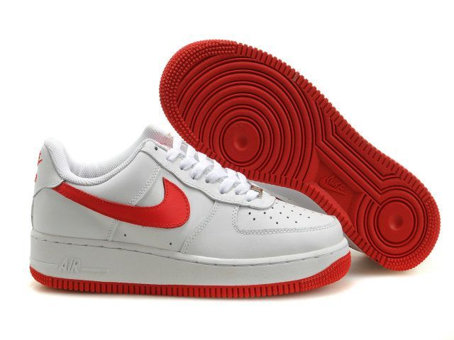 new products e0559 e2bb4 Hvit Carmine Red Nike Air Force 1 25th Low Sko Herre 99071