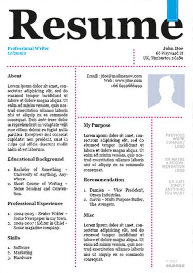 20 Awesome Designer Resume Templates for Free Download Kellology - cool resume templates free
