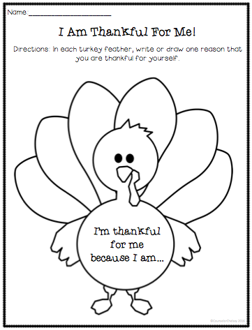 Self Esteem Thanksgiving Activities: I Am Thankful For Me