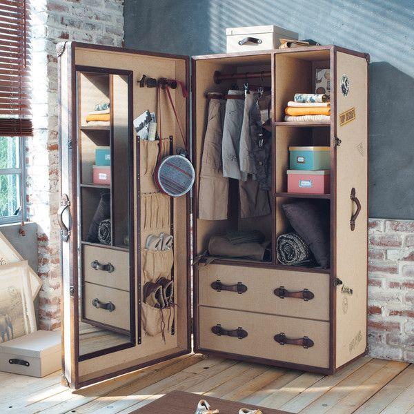 Wood And Jute Cloth Child S Closet W 80cm Phileas Fogg Trunk Furniture Campaign Furniture Furniture