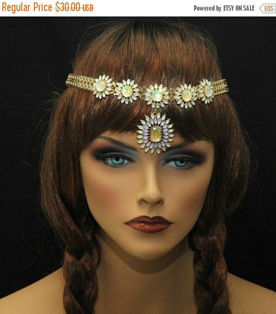 #BOHO wedding new Gold metal chain hairpiece w/gold flowers & gems!  SALE $24 #AyansiWeddingDesigns