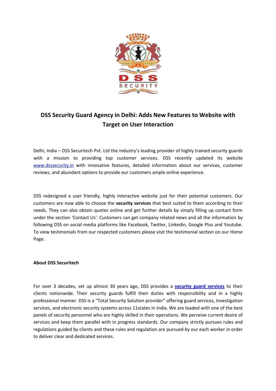 Dss security guard agency in delhi adds new features to