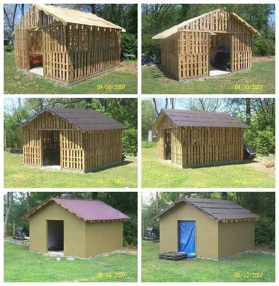 Shed Made From Reclaimed Pallets Recyclart Pallet Building Pallet Shed Shed Plans