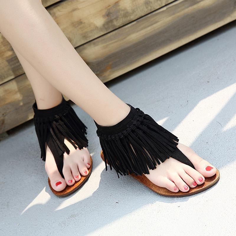 Designer Summer Women Flat Sandals Flip Flops Fringe Ladies Cover Heel Slippers Retro Casual Shoes Sapato Feminino Womens Gladiator Sandals Womens Sandals Flat Summer Sandals Flat