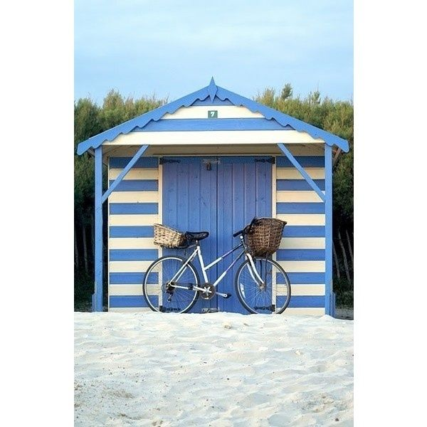 Collection Development - Blue and white striped beach hut