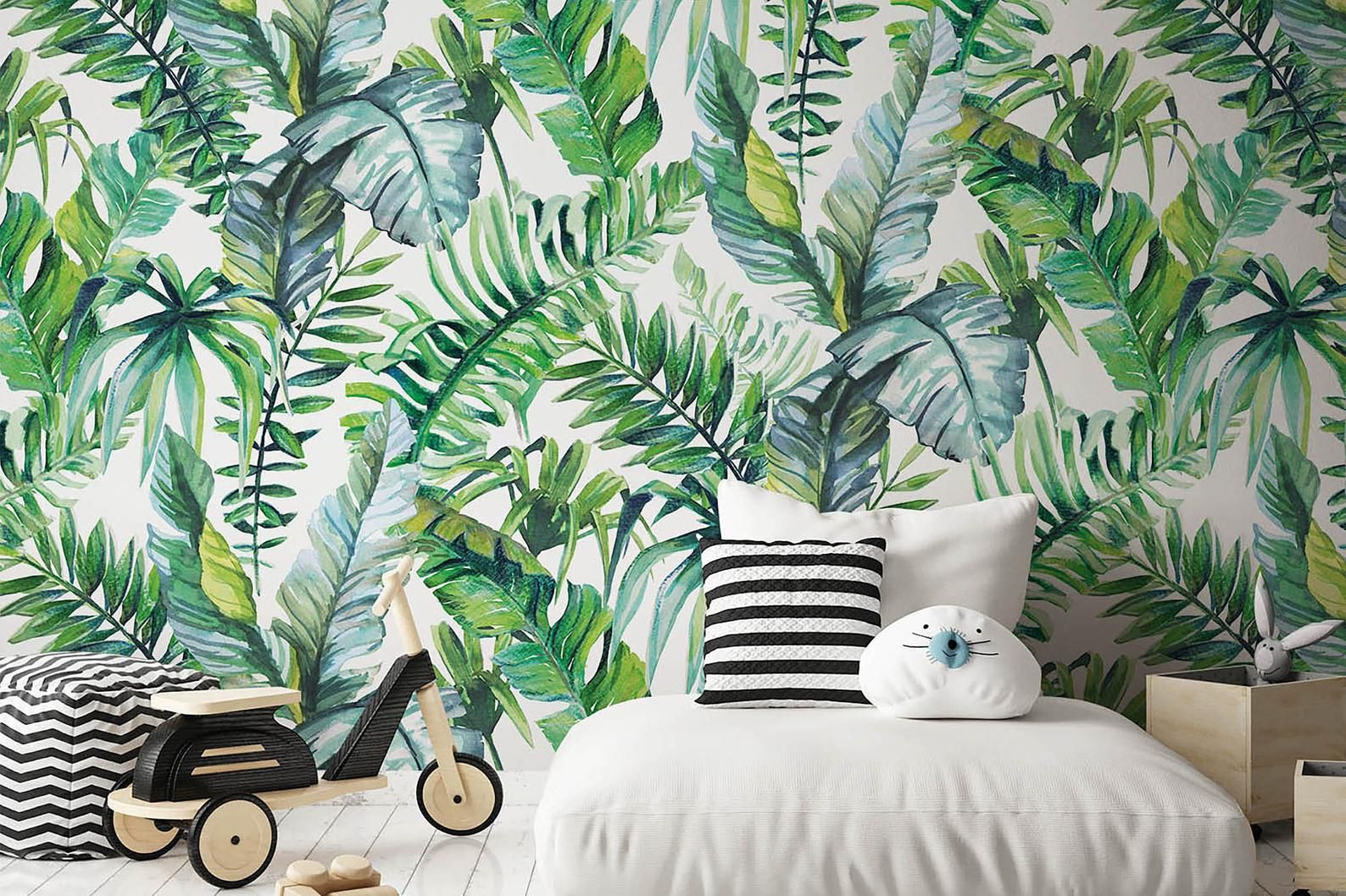 Tropical Leaf Removable Wallpaper Peel And Stick Forest Etsy Removable Wallpaper Jungle Wall Stickers Tropical Leaves