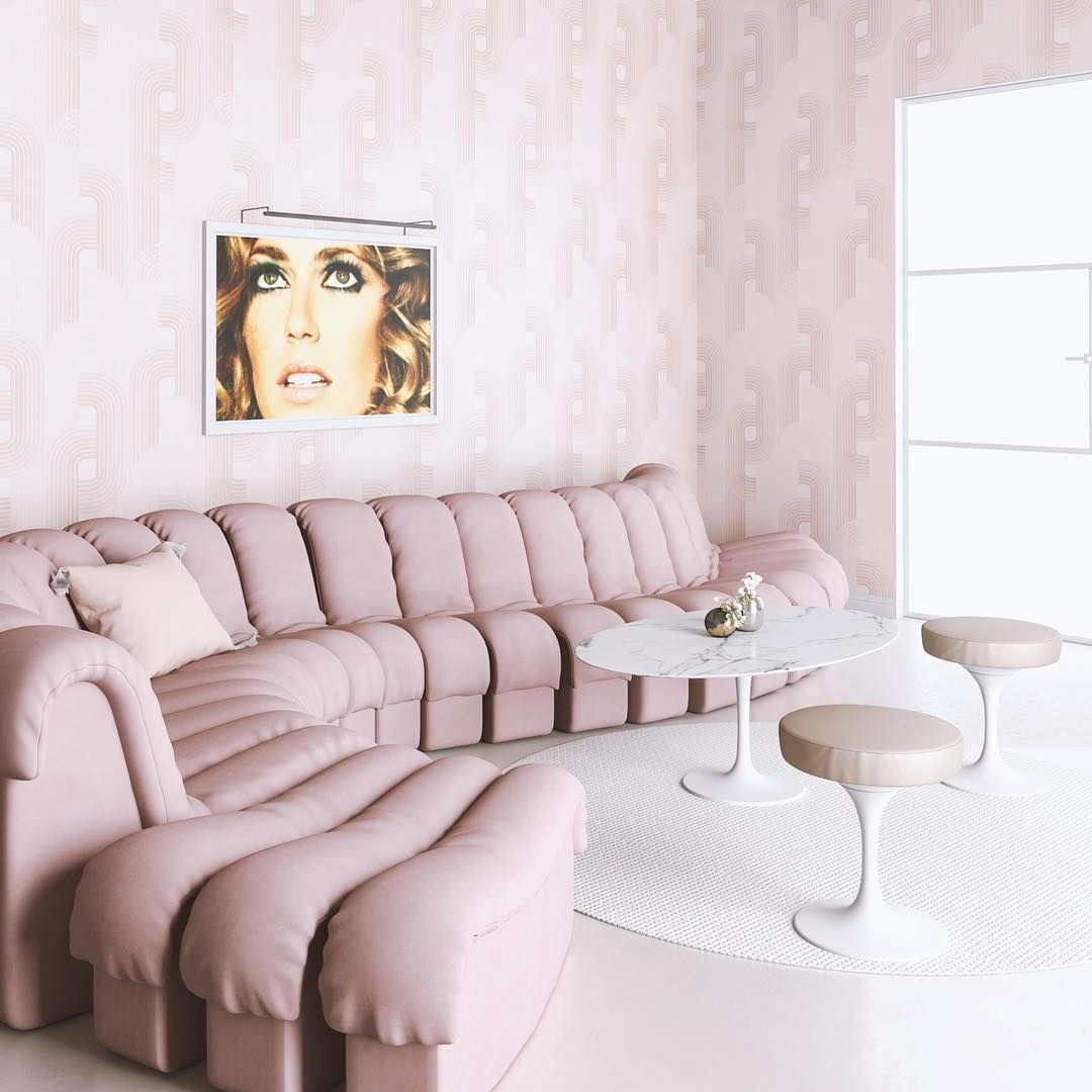"""Living Room Translate To Indo: A Mauve Pink Color Palette For This Living Room. """"As The"""