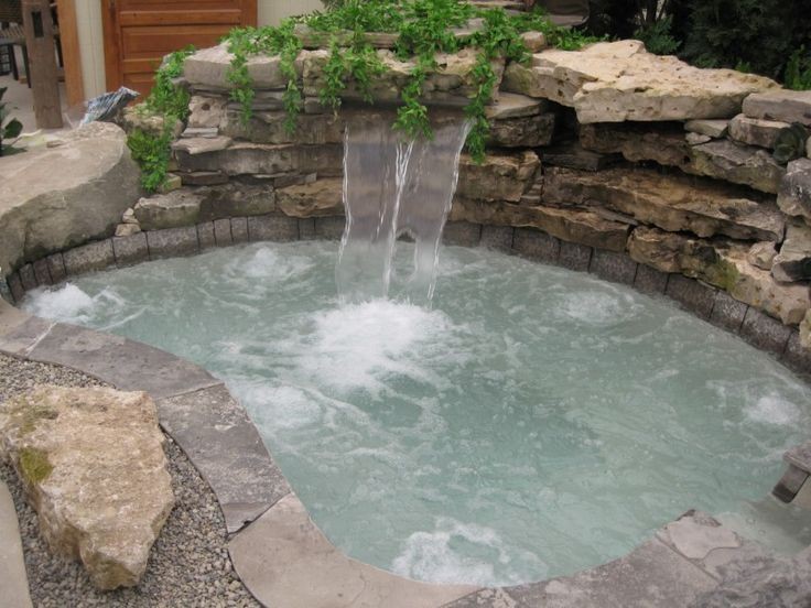 Inground Spa With Jets And Waterfall Hot Tub And Spa