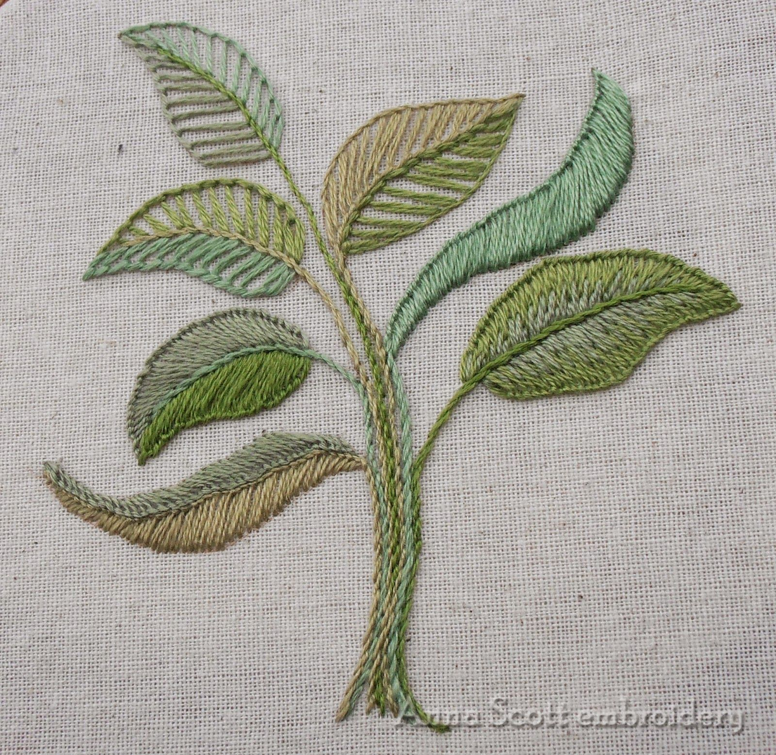 Anna scott blanket stitch leaves part two embroidery