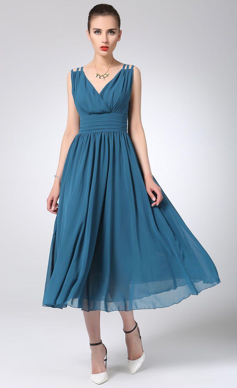 vestido del diseñador vestido azul de Gasa maxi por xiaolizi ... bb76197279d8