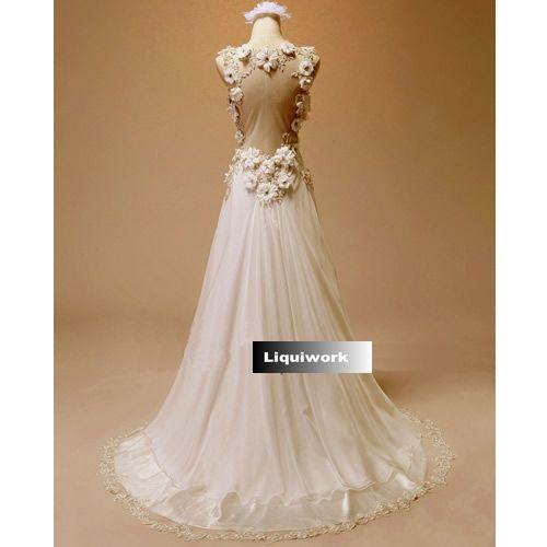 Designer White V Neck Backless Goddess Wedding Evening Cocktail Dresses SKU-118030