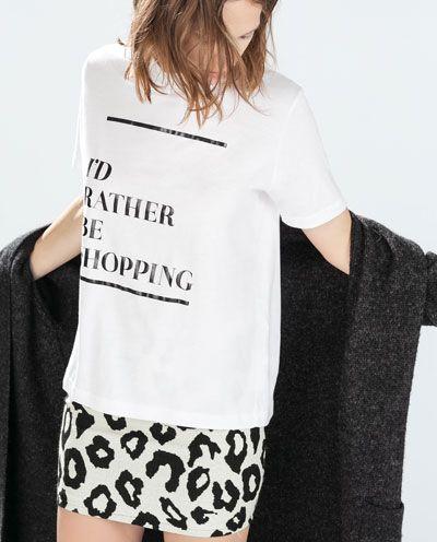 T SHIRT MED TEKST | Prints | Women slogan, Zara, Women