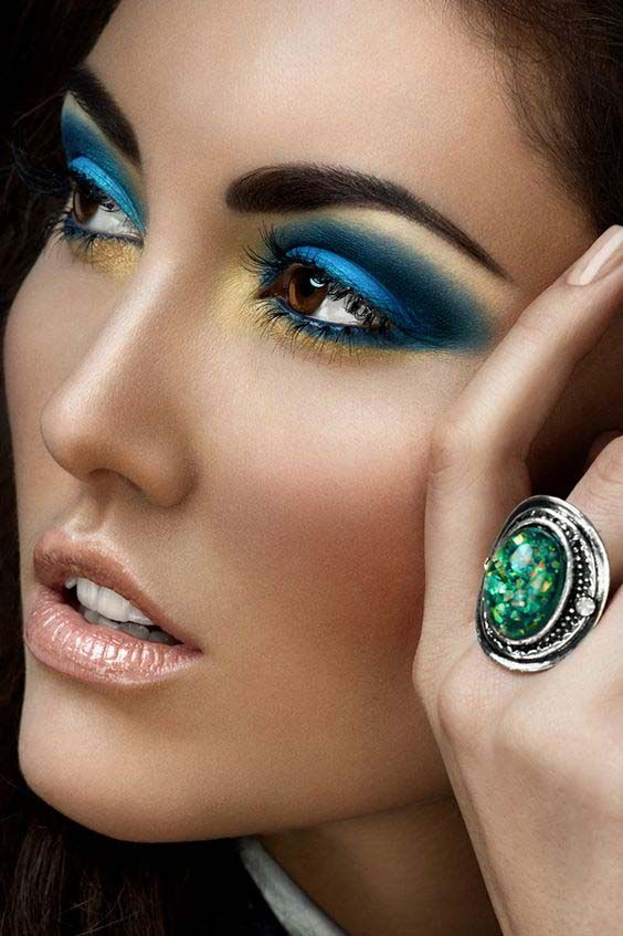 Golden Rule of Bold Eyeshadow and Nude Makeup | Metallic Blues and Gold Eyeshadow Makeup Look for the Night Out | Shop Now >>>> https://www.amazon.com/dp/B0058RFU5A