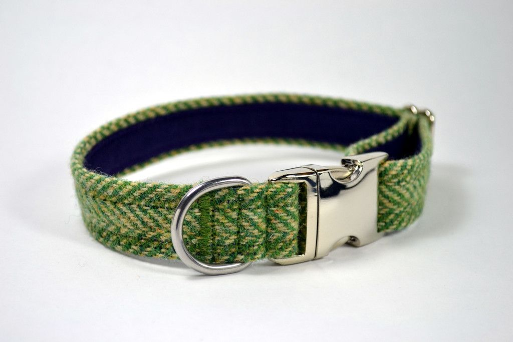 Green Herringbone Dog Collar