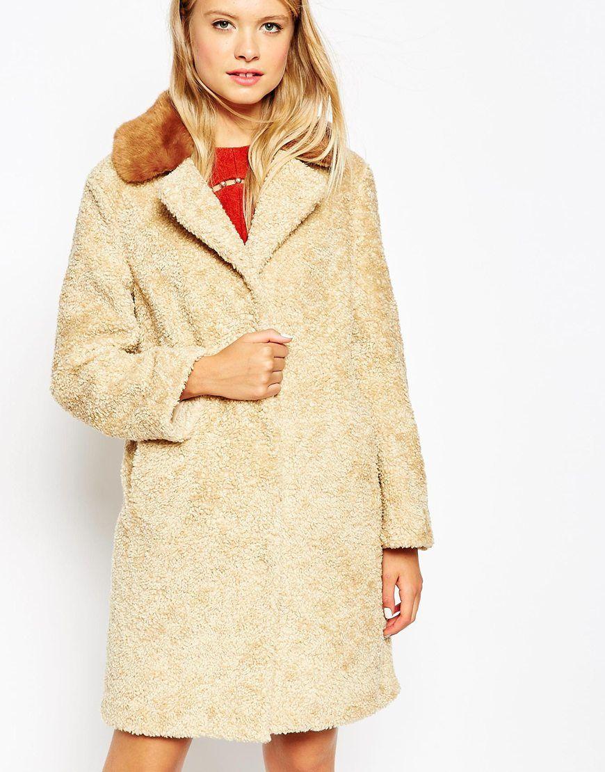 Asos black coat fur collar
