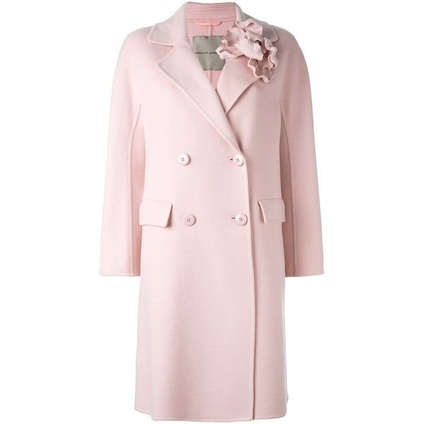 Ermanno Scervino floral applique coat (€1.645) ❤ liked on Polyvore featuring outerwear, coats, pink coat, floral print coat, ermanno scervino and floral coat