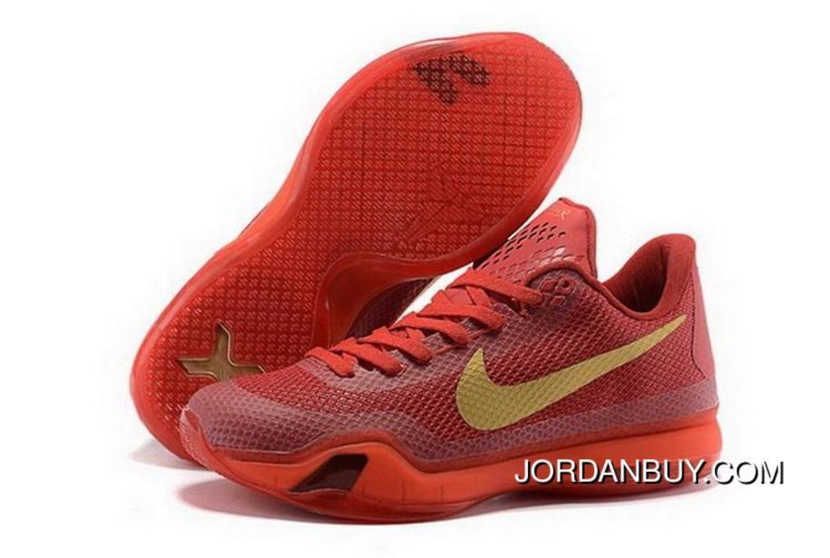 Buy Cheap Nike Kobe 10 2015 Red Gold Mens Shoes