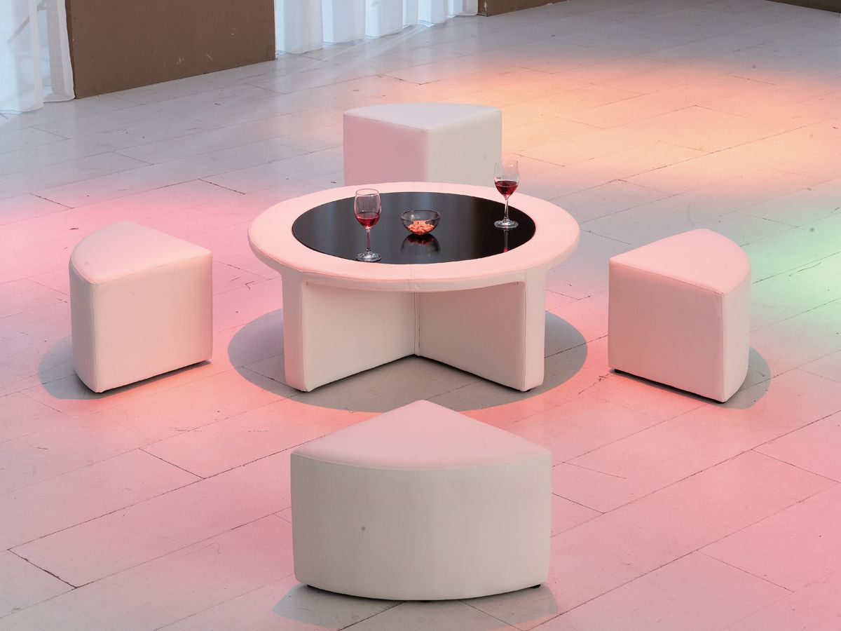 Best White Leather Round Ottoman With Pull Out Seats Glass 400 x 300