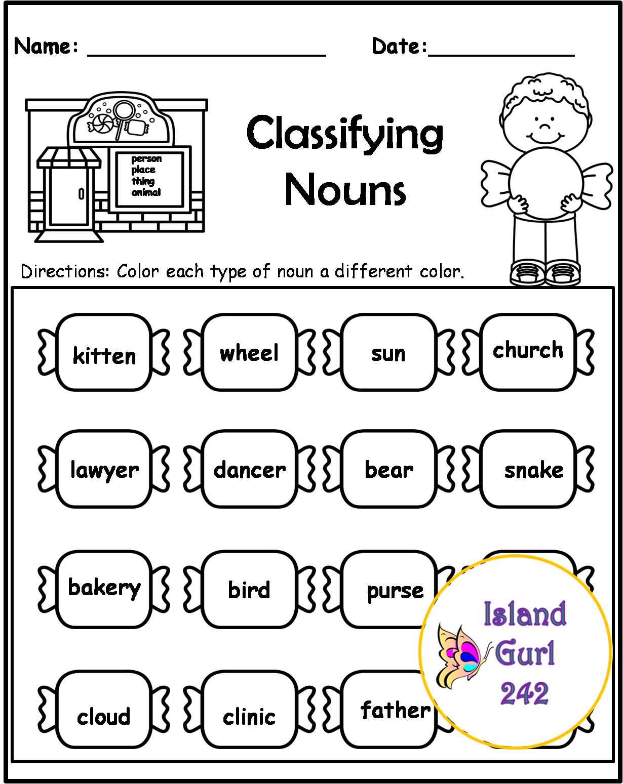 Nouns No Prep Packet Sweets Theme