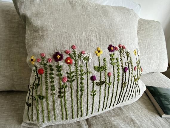 Floral Embroidery Pillow Cover / Linen Pillow Case With Handmade Embroidery / Floral Pattern/ Green Embroidery Botanical Cover Pillow