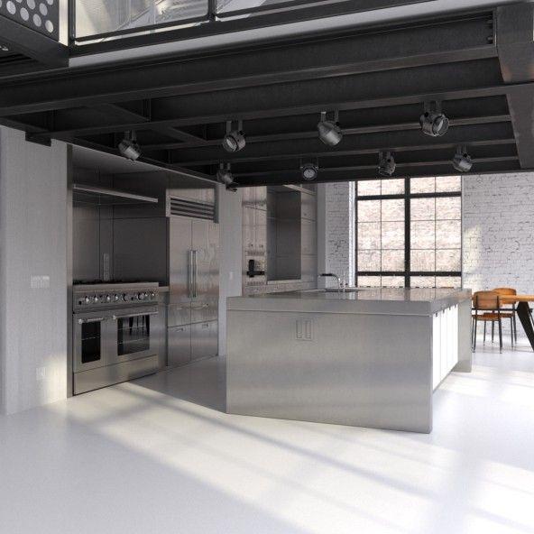 industrielle wohnung mit offener k che edelstahl insel entwerfen und sichtbalken holz. Black Bedroom Furniture Sets. Home Design Ideas