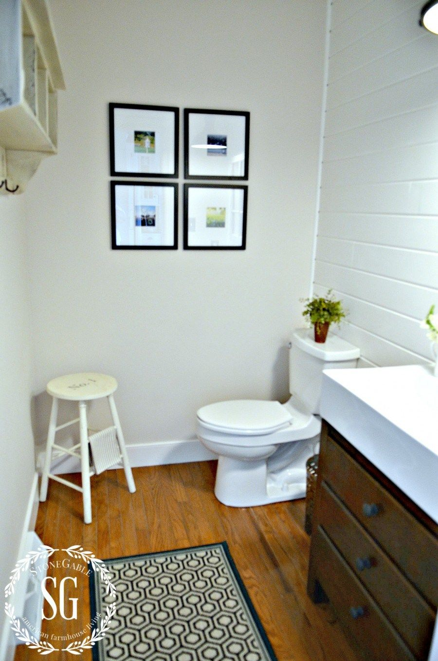 FARMHOUSE POWDER ROOM REVEAL | Powder room, White baseboards and ...