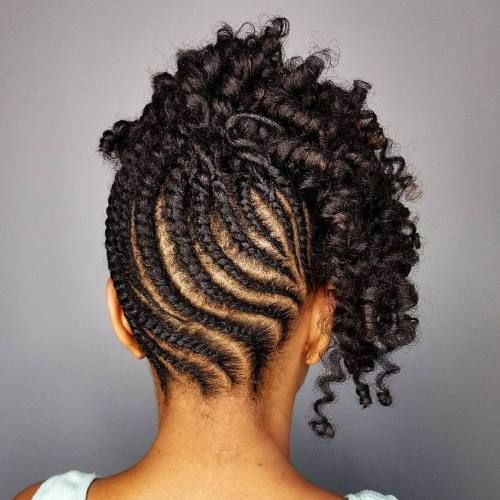 Twisted Up Natural Updo with Curly Top