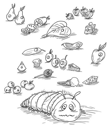 Very Hungry Caterpillar With Fruits And Foods Coloring Page From The Category Select 28368 Printable Crafts Of Cartoons